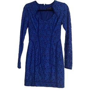 Black Halo Lace Overlay Blue Sheath Dress 0